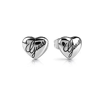 Guess Jewellery Guess Rhodium Plated Heart Engraved Logo Script Earrings UBE28066