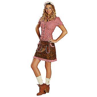 Damen Trachtenrock Gr. 34- 44 Lederoptik braun Oktoberfest Kostüm Rock Bayern