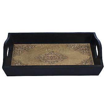 Handmade Serving Tray With Embossed Brass Work In Wood Frame