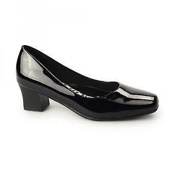 Comfort Plus Karly Ladies Wide Fit Block Heel Court Shoes Patent Black