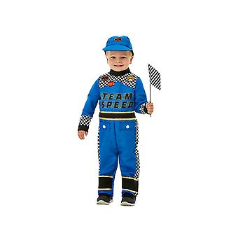 Kids Age 1 - 4 Years Formula 1 Racing Car Driver Fancy Dress Costume Blue