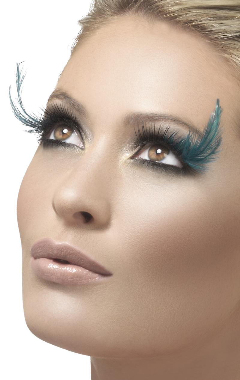Black and Teal Green Feather Plume Eyelashes