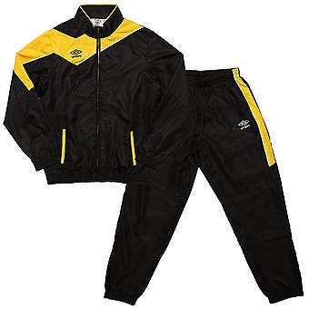 Junior Boys Umbro Division Lined Tracksuit In Black Yellow- Jacket:- Zip