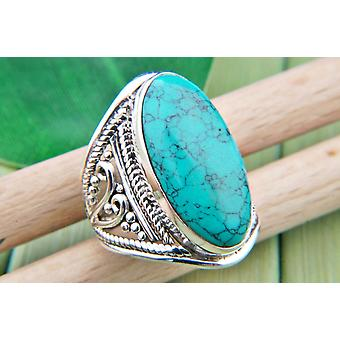 Turquoise Ring 925 Silver Sterling Silver Silver Women's Ring Blue Green (IRM 83-15)