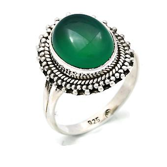 Ring Silver 925 Sterling Silver Green Onyx Green Stone (Nr: MRI 118)