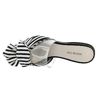 Alle zwarte Clear Bow Slide vrouwen ' s slip op