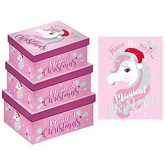Eurowrap Christmas X-Long Unicorn Oblong Boxes (Pack of 3)