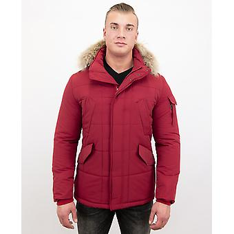 Red Winter Coat Large Fur Collar - Parka