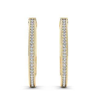 Igi certificato 10k oro giallo 0,15 ct diamanti hoop orecchini veri ganci solidi
