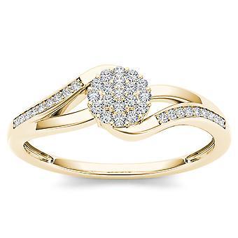 IGI certifié 10 k diamant jaune or Ct 0,13 Cluster mode bague de fiançailles