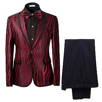 Allthemen miesten ' s käänne kaula 1 painiketta yksirivinen Tuxedo seepra tulostaa puvut häät illallinen 2 pala puku