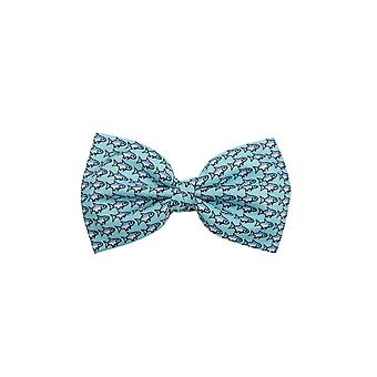 Dobell Mens Blue Fish Print Bow Tie Pre-Tied