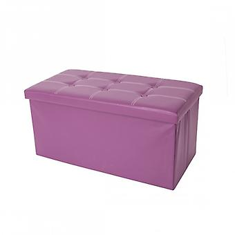 Meubles Rebecca Pouf Stockage Stockage Purple Ecoleather Container 38x76x38