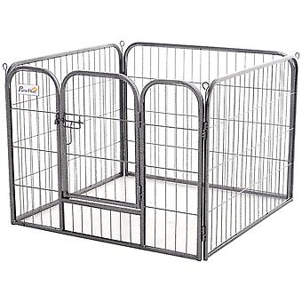PawHut Heavy-Duty Metal Pet Playpen Dog Crate Kennel w/ Door, Latches Hexagon