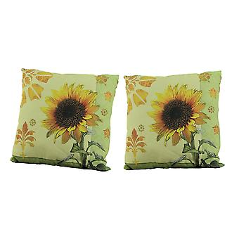 Climaweave Accent Throw Pillows Sunflower Garden Indoor Outdoor Cushion Set of 2