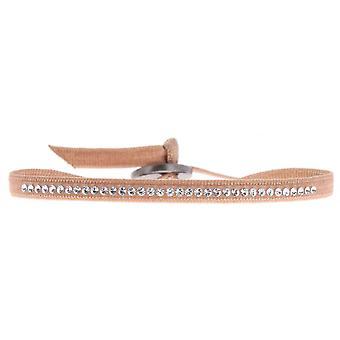 Bracelet interchangeable A32981 - fabric Beige woman Swarovski crystals Bracelet