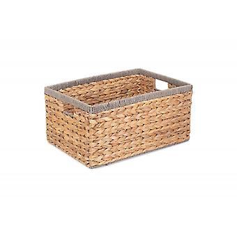 Medium Water Hyacinth With Grey Rope Border Rectangular Storage Basket