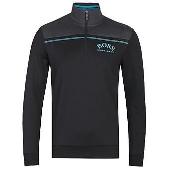 BOSS Schwarz Zip Hals Kontrast Panel Sweatshirt