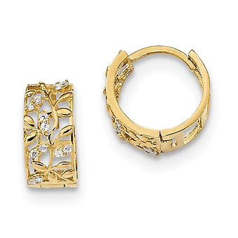 12.6mm 14k Madi K CZ Cubic Zirconia Simulated Diamond Fancy Leaves Hinged Hoop Earrings Jewelry Gifts for Women