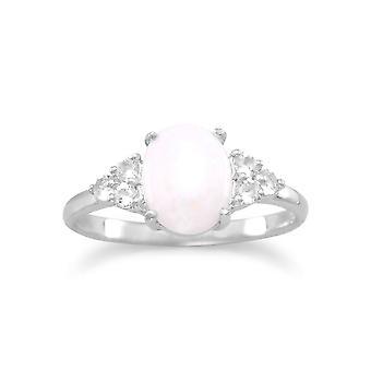 Rhod. P. Silber Ring 7mm X 9mm oval australischeopal drei 1mm weiß Topas jede Seite Schmuck Geschenke für Frauen - Ring Größe: