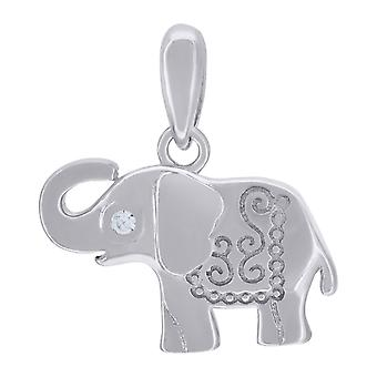 925 Sterling Silver Mens Women CZ Elephant Animal Charm Pendant Necklace Measures 18x16.8mm Wide Jewelry Gifts for Men