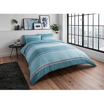 Banded Stripe Teal Bedding Set
