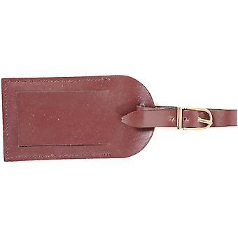 Genuine Leather Luggage ID Tag - Black