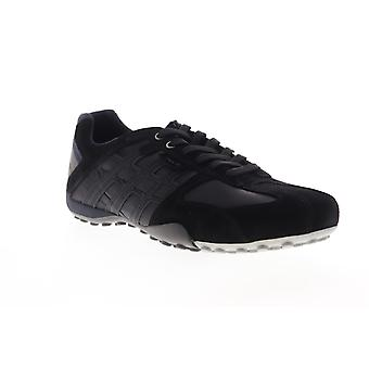 Geox U Snake Mens Black Suede Low Top Lace Up Euro Sneakers Shoes