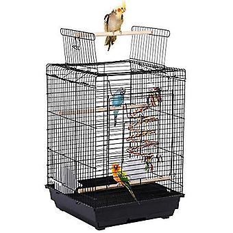 Metal Open Top Bird Cage för småfåglar Finch Canary Undulat Canary Parakeet Cockatiel Travel Cage Svart