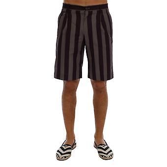 Dolce & Gabbana Gray Purple Striped Cotton Shorts
