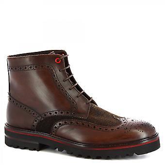 Leonardo Shoes Men's handmade brogues lace-ups boots dark brown leather fabric