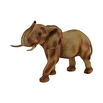 Faux madeira esculpida olhar tronco até andando estátua do elefante