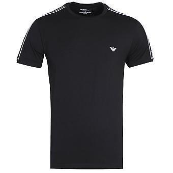 Emporio Armani Regular Fit Crew Neck Afgeplakte schouders zwart T-shirt