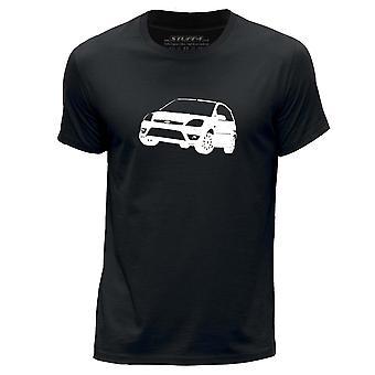 STUFF4 Men's Round Neck T-Shirt/Stencil Car Art / 05 Fiesta ST/Black