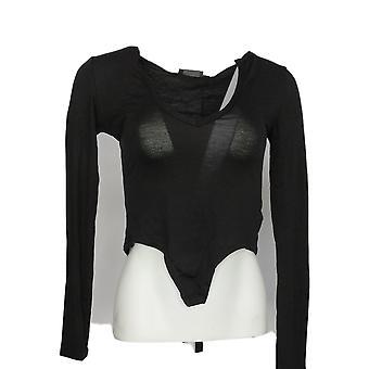 PrettyLittleThing Women's Bodysuit Jersey V Neck Long Sleeve Zwart