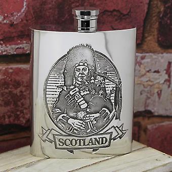 Scottish Piper Pewter Hip Flask - 6oz