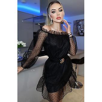 Lilly Polka Dot Bardot Dress - Black