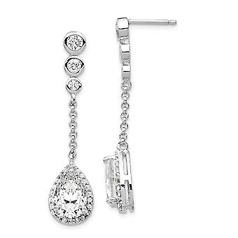 925 Sterling Silver Rhodium plated CZ Cubic Zirconia Simulated Diamond Teardrop Dangle Post Earrings Jewelry Gifts for W