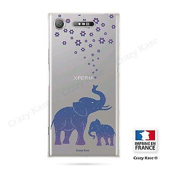 Rumpf für Sony Xperia Xz1 Flexible blaue Elefanten Muster