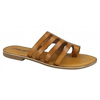 Leather Collection Womens/Ladies Flat Strappy Sandals