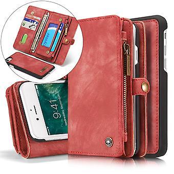 CASEME iPhone 8 / 7 / SE Retro Split läder plånboksfodral - Röd