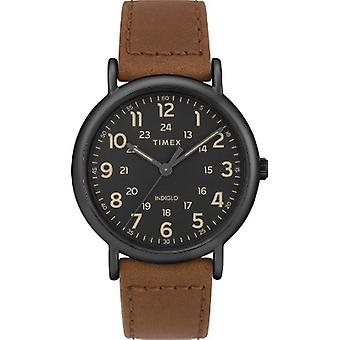 TW2T30500, Timex Uomini's TW2T30500 Weekender Brown Leather Strap Orologio