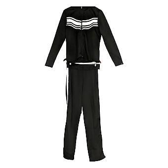 K Jordan Women's Lg Slv Zip Front Jacket & Track Striped Pants 2 Piece Set