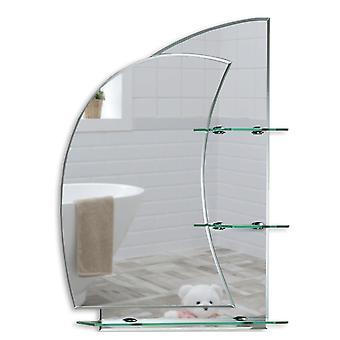 Miroir de mur marin avec étagère 60 x 43cm