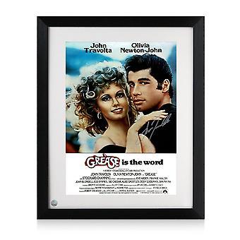 John Travolta Firmato Grease Poster. Incorniciato