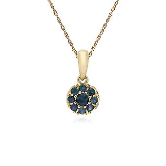 Cluster Round Sapphire Classic Pendant Necklace and Chain in 9ct Yellow Gold 135P1910029