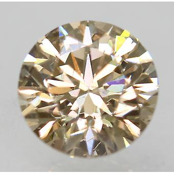 Cert 0.74 Carat Light Brown VVS1 Round Brilliant Enhanced Natural Diamond 5.72mm