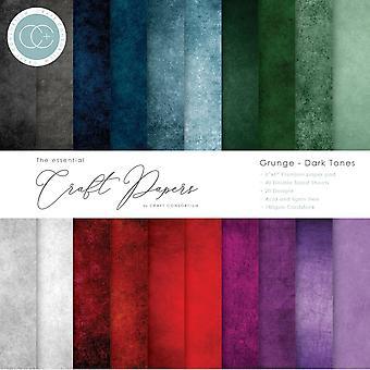 Craft Consortium Essential Craft Papers 6x6 Tommer Papir Pad Grunge mørke toner