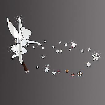 Engel & Sterne Acryl Diy dekorative Spiegel 3d Wandaufkleber