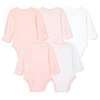 Moon and Back Baby Set of 5 Organic Long-Sleeve Bodysuits, Pink Blush, 6-9 Mo...
